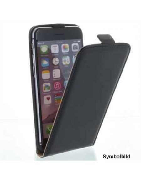 Flip-Style Kunstleder Tasche Vertikal mit Halterung für Apple iPhone 7 - Schwarz