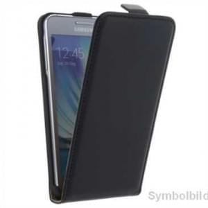 Flip-Style Kunstleder Tasche Vertikal mit Halterung für Samsung Galaxy A7 (2017) - Schwarz