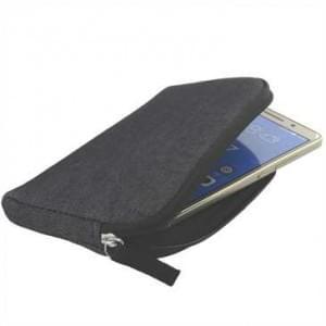 XiRRiX Soft Handy Tasche mit Reißverschluss und Trageschlaufe - Größe 147,5 x 76 mm - Farbe: grau