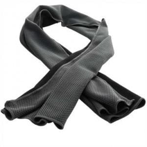 XiRRiX Sport Fitnesshandtuch mit Cool Effekt - Abkühlung im Handumdrehen - 100 x 30 cm, grau / schwarz