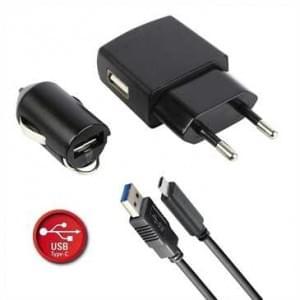 USB Lade- & Daten Set USB Typ C 2.1A - Auto Ladeadapter, Netzgerät, Daten-/ Ladekabel - schwarz