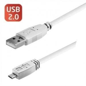 USB Lade-/ Datenkabel USB 2.0 mit Micro-USB Stecker Typ B - Länge: 1 m - Farbe: Weiß