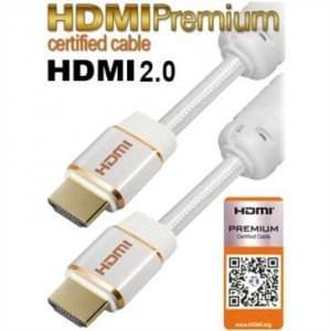 HDMI Premium zertifiziertes Kabel für Datenraten bis 18 Gbit/s, 60Hz, HDMI 2.0, 3D, UHD/4K - 1,5 m weiss