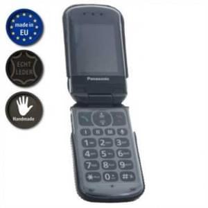 XiRRiX Echt Leder Tasche mit Gürtelclip für Panasonic KX-TU339EXBE - schwarz