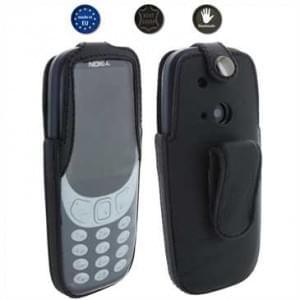 XiRRiX Echt Leder Handytasche mit drehbaren Gürtelclip für Nokia 3310 (2017) - schwarz