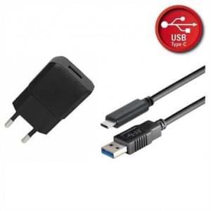 Netzteil USB Set 2.1A schwarz inkl. USB Typ C 3.1 Lade / Datenkabel 1,8 m