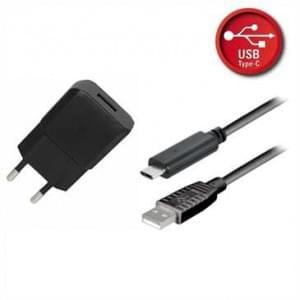 Ladegerät / Netzteil USB Set 2.1A schwarz inkl. USB Typ C 2.0 Lade/ Datenkabel 1,8 m
