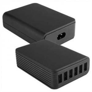 6 x USB Tisch Schaltnetzteil 60 Watt 12A mit integriertem Smart IC - schwarz