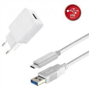 Netzteil USB Set 2.4A inkl. USB Typ C > USB 3.1 (Gen2) Typ A Stecker Lade / Datenkabel - 1 m - weiß