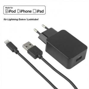 MFI Netzteil USB Set 2.4A schwarz inkl. Lightning Lade / Datenkabel 1,2 m - schwarz