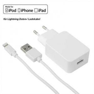 MFI Netzteil USB Set 2.4A weiß inkl. Lightning Lade / Datenkabel 1,2 m - weiß