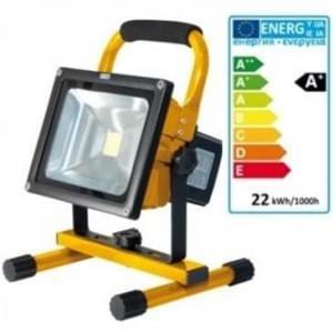 LED Akku Außen Strahler IP65 20W 8800 mAh 1800 Lumen 3 Std. Arbeitszeit gelb