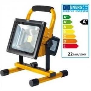 LED Akku Strahler IP65 20W 10.4 Ah 1800 Lumen 6 Std. Arbeitszeit gelb
