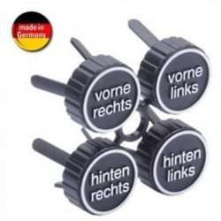 Auto 4er Set Reifenmarkierungskappen mit Aufdruck- 4 Reifenclips zum Einstecken in Felgenlöcher