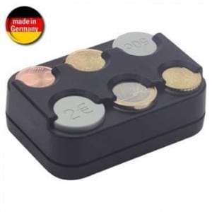 HR Euro Münzbox, Kleingeldbox 6 Fächer, selbstklebend, für Euromünzen von 0,05 € bis 2 €