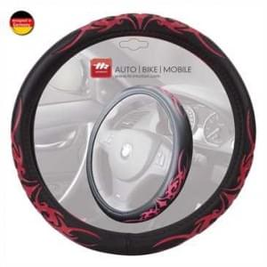 "Auto Lenkradbezug Lenkradhülle im ""Tribal""-Design (Schwarz/ Rot) - für Lenkräder mit ca. Ø 38 cm"
