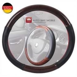 Auto Lenkradbezug Lenkradhülle Schwarz / Wurzelholz - für Lenkräder mit ca. Ø 38 cm