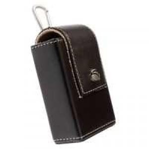 Krusell Polaris Kamera Tasche 48176 - Echt Leder - Innenmaß: 100 x 60 x 27 mm - Schwarz / Grau