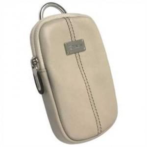 Krusell Luna Kameratasche mit Gürtelschlaufe - Innenmaß: 110 x 70 x 12 mm - Creme / Schwarz