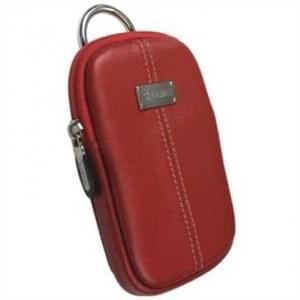 Krusell Luna Kameratasche mit Gürtelschlaufe - Innenmaß: 110 x 70 x 12 mm - Rot / Creme