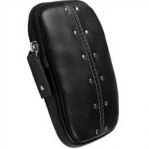 Krusell Kalix Kameratasche Echt Leder - Innenmaß: 110 x 70 x 12 mm - Schwarz