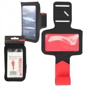 Sport Armband - 4XL - für Geräte bis 160 x 78 mm - Schlüsselfach, Kopfhörer Slots - schwarz / rot