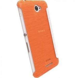 Krusell Tasche Boden Flip Cover für Sony Xperia E4, Xperia E4 Dual - Transparent orange