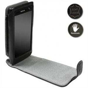 Krusell Orbit Flex Multidapt Echt Ledertasche für Nokia N9 - schwarz / grau