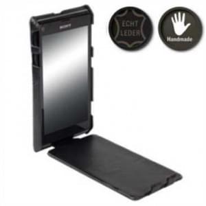 Krusell Slim Cover Tasche für Sony Xperia L - Sepia schwarz