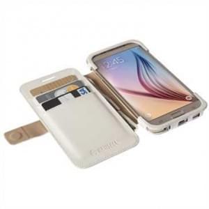 Krusell Tasche Malmö Folio Case 76121 für Samsung Galaxy S6, Galaxy S6 Edge - Weiß