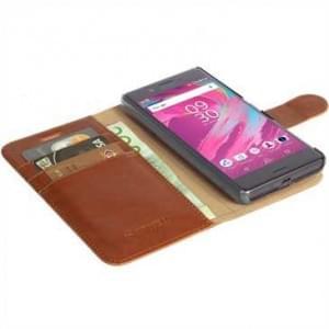 Krusell Tasche Ekerö Folio Wallet 2in1 für Sony Xperia X - Cognac