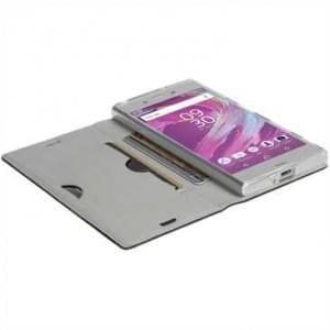 Krusell Malmö 4 Card Folio Case Tasche für Sony Xperia XA1 Ultra - 4 Kreditkartenfächer - Schwarz