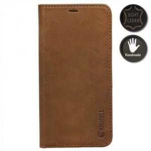 Krusell Echt Leder Handytasche Sunne 4 Card Folio Case für Apple iPhone X - Vintage Cognac brown
