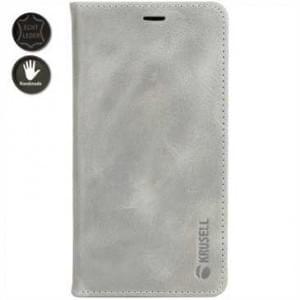 Krusell Echt Leder Tasche Sunne 4 Card Folio Case für Apple iPhone X - Vintage Grey