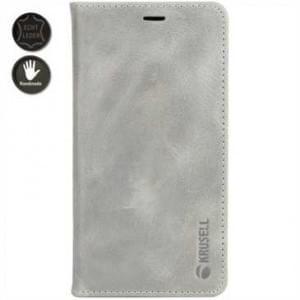 Krusell Leder Tasche Sunne 4 Card Folio Case für Apple iPhone 8 / 7 - Vintage Grey