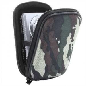 Kamera / Kompaktkamera Tasche, EVA Material/Nylon Oberfläche - Außen: 117x75x35 mm - Camouflage Grün