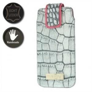 Valenta Pocket Glam Echt Leder Tasche - Croco Look - grau / rosa