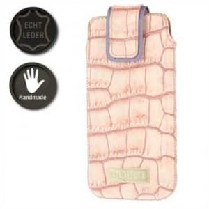 Valenta Pocket Glam Echt Leder Tasche - Croco Look - light pink / purple
