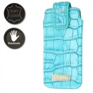 Valenta Pocket Glam Echt Leder Tasche - Croco Look - turquoise / green