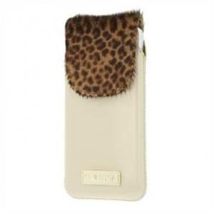 Valenta Pocket Animal Leopard Echt Leder Tasche mit Fellimitat - beige