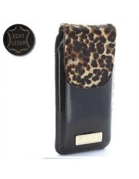 Valenta Pocket Animal Leopard 20 - Echt Leder Tasche mit Fellimitat - schwarz - Item Code: 414140