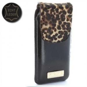 Valenta Pocket Animal Leopard 22 - Echt Leder Tasche mit Fellimitat - schwarz