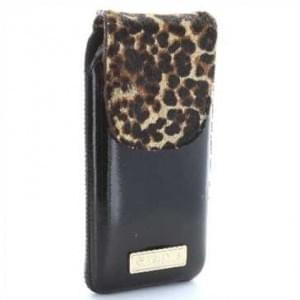 Valenta Pocket Animal Leopard Echt Ledertasche mit Fellimitat - schwarz