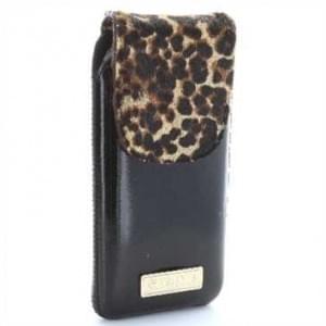 Valenta Pocket Animal Leopard 17 - Echt Leder Tasche mit Fellimitat - schwarz