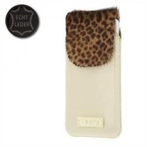 Valenta Pocket Animal Leopard 20 - Echt Leder Tasche mit Fellimitat - beige
