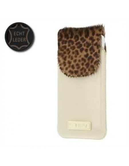 Valenta Pocket Animal Leopard 20 - Echt Leder Tasche mit Fellimitat - beige - Item Code: 414164