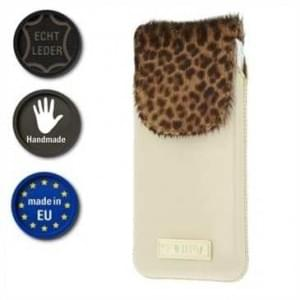 Valenta Pocket Animal Leopard 22 - Echt Leder Tasche mit Fellimitat - beige (Made in EU)