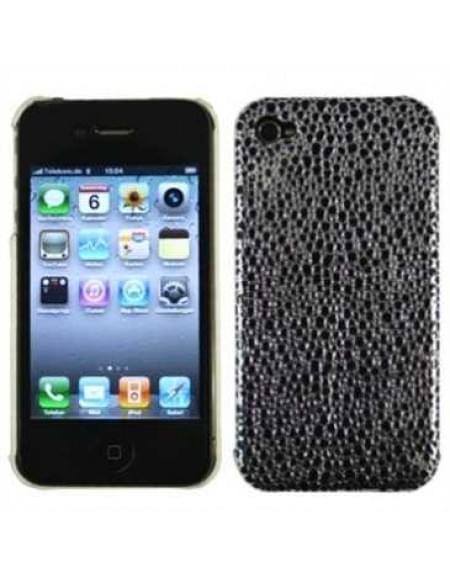 Hard Case / Back Cover für Apple iPhone 4, iPhone 4S - schwarz / silber- Design: Gepard