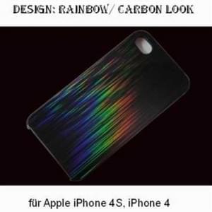 Polycarbonat Schutzhülle Hülle für Apple iPhone 4, 4S - Design: Rainbow / Carbon Look - schwarz