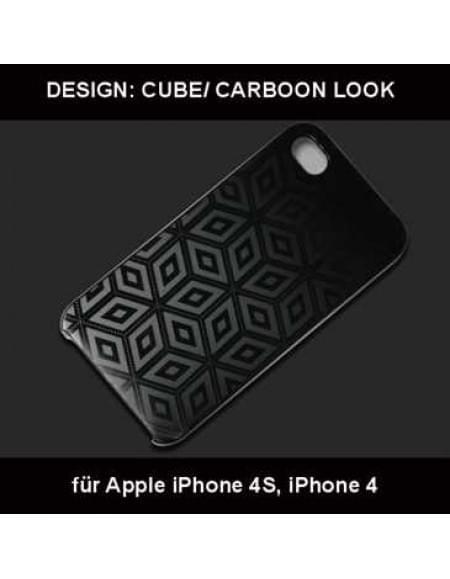 Polycarbonat Schutzhülle Hülle für Apple iPhone 4, 4S - Design: Cube / Carbon Look - schwarz
